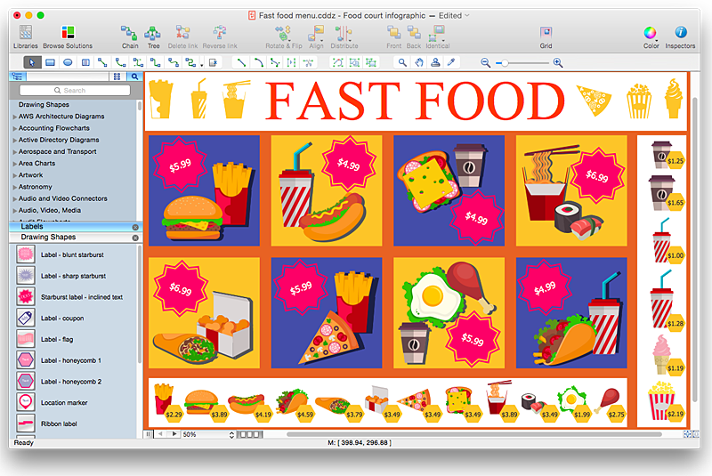 how to design a fast food restaurant menu using conceptdraw pro