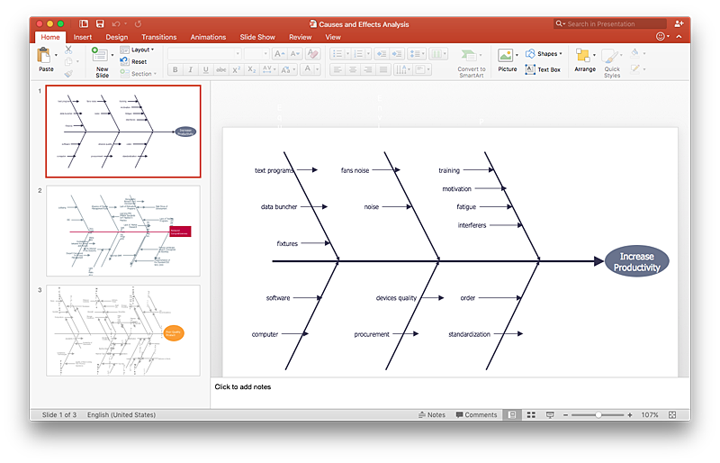 How to create a ms visio cause and effect diagram using conceptdraw how to add a fishbone diagram to a powerpoint presentation using conceptdraw pro ccuart Image collections