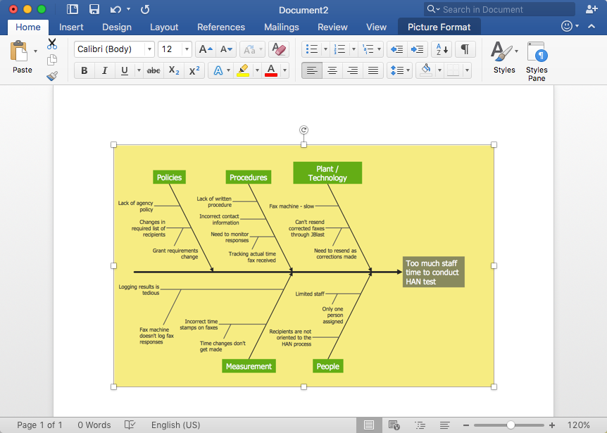 How to Add a Fishbone  (Ishikawa) Diagram to an MS Word Document *
