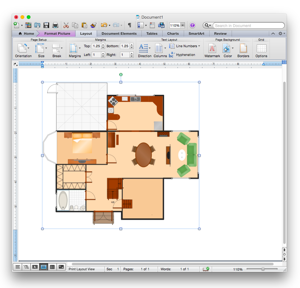 how to add a floor plan to a ms word document using conceptdraw pro
