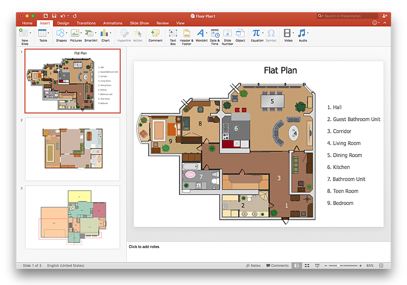 make a powerpoint presentation of a floor plan using