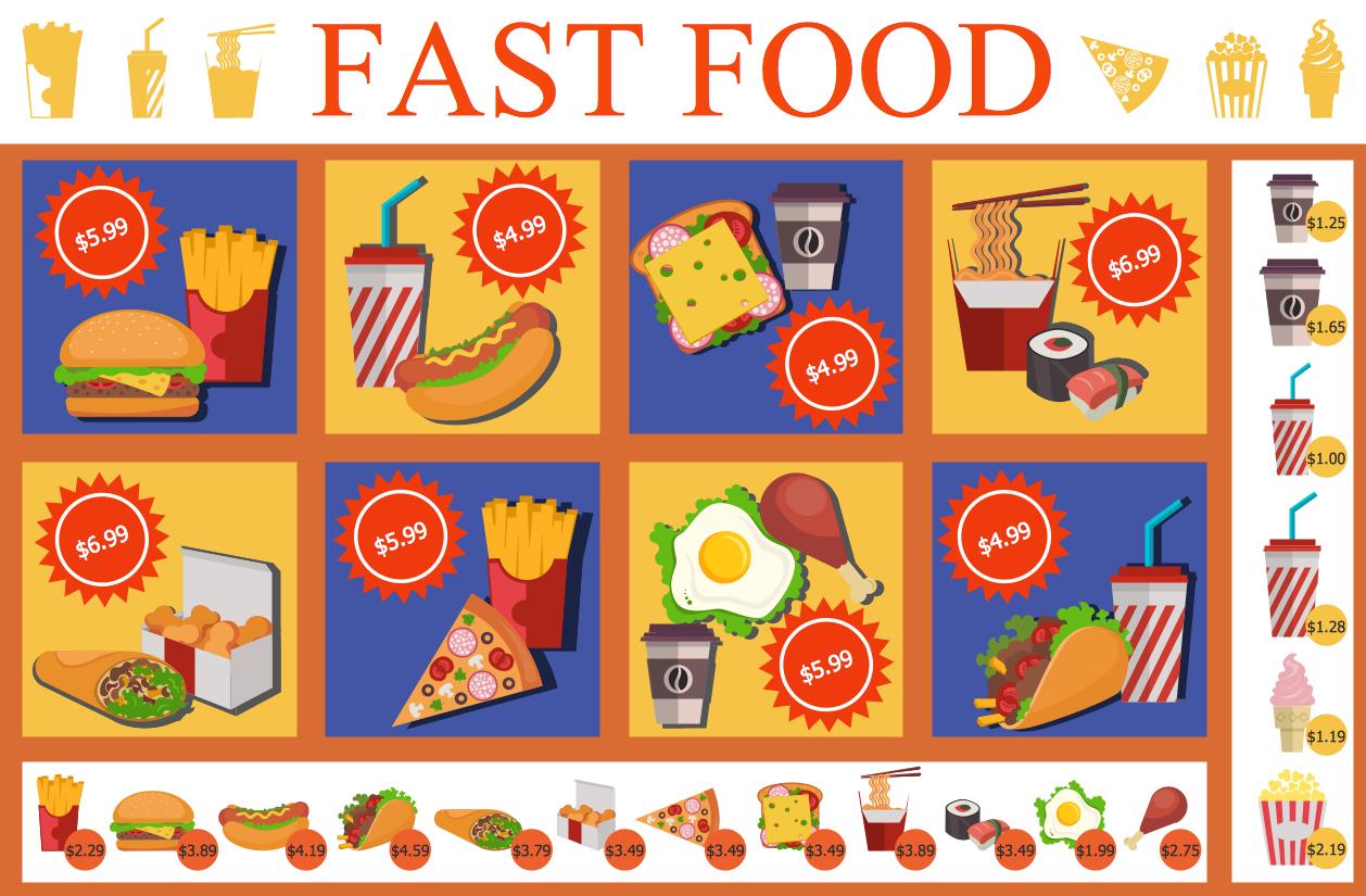 Food and Beverage - Fast Food Menu