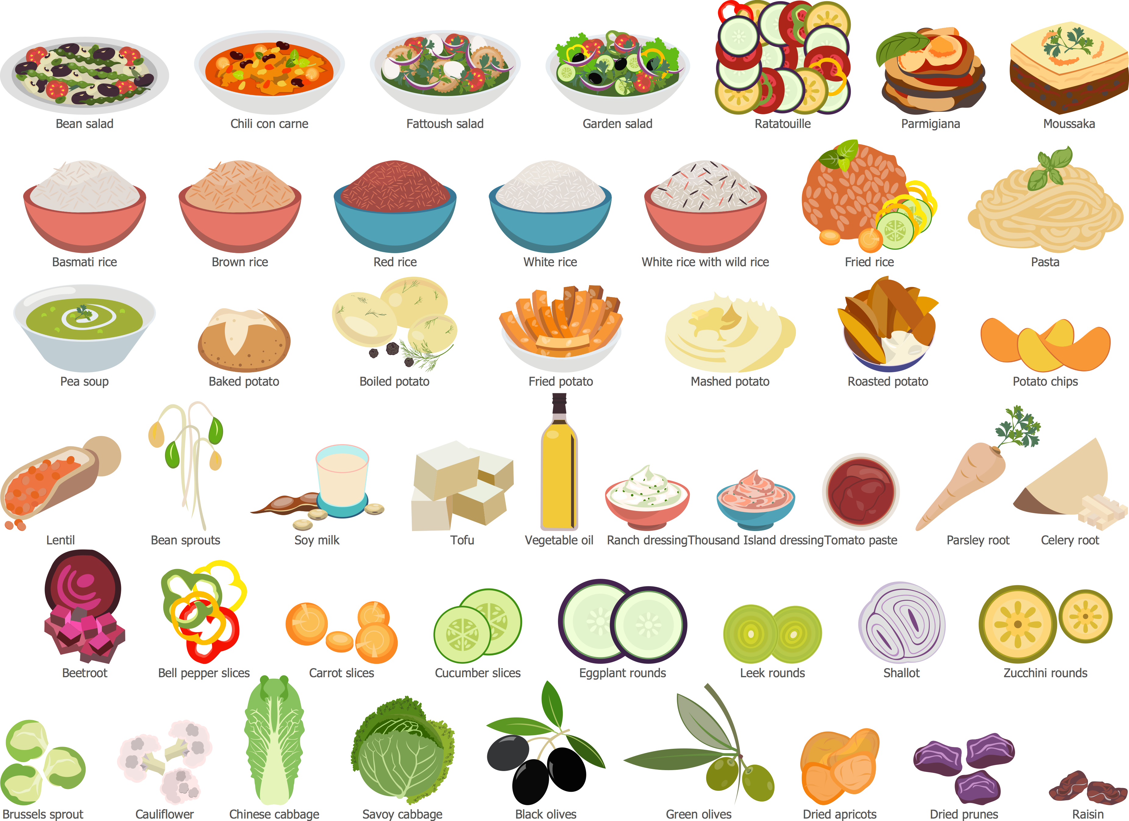 Salads, Side Dishes and Vegetables Library