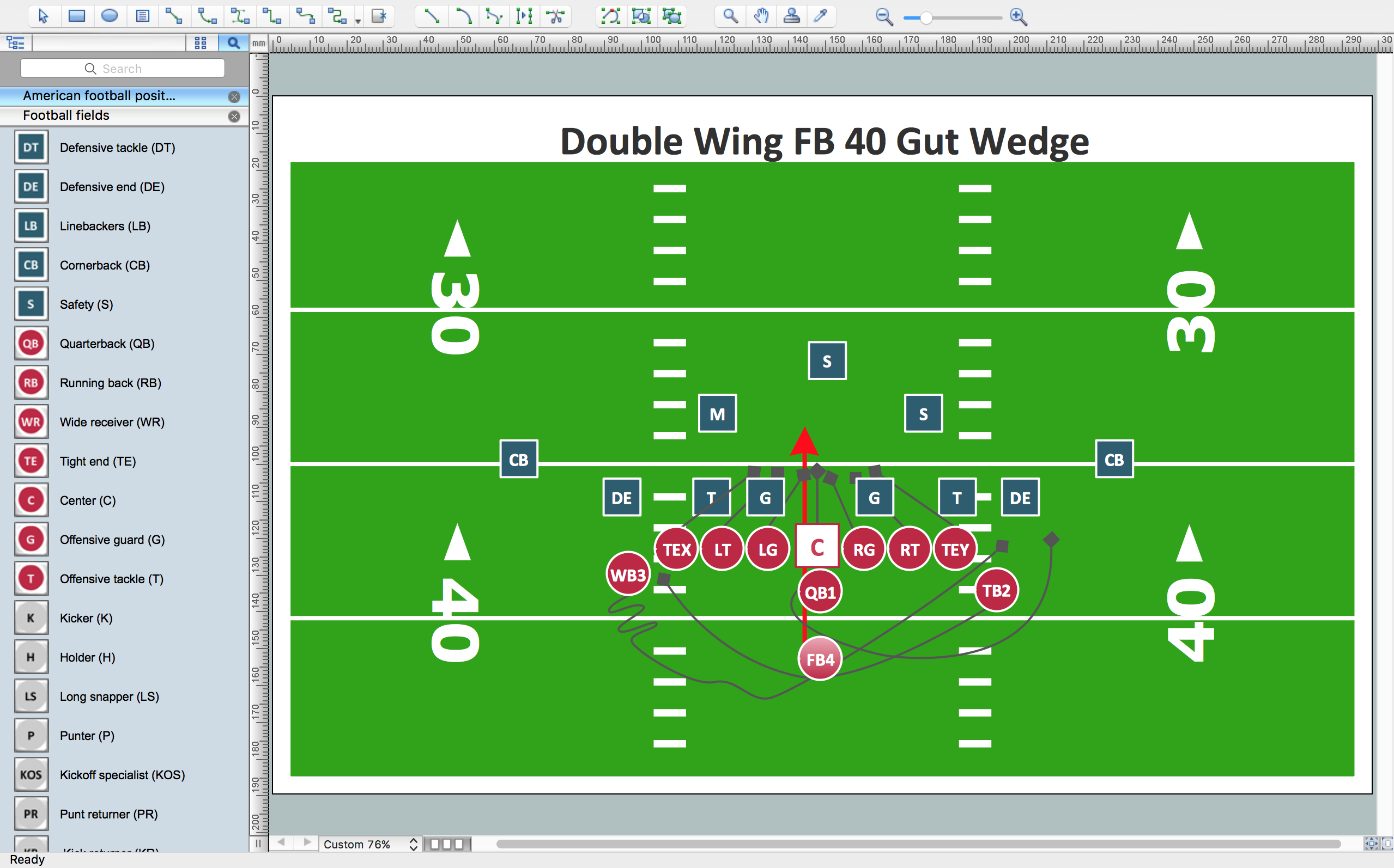 Sport – Football – Offensive Play – Double Wing Wedge – Sample