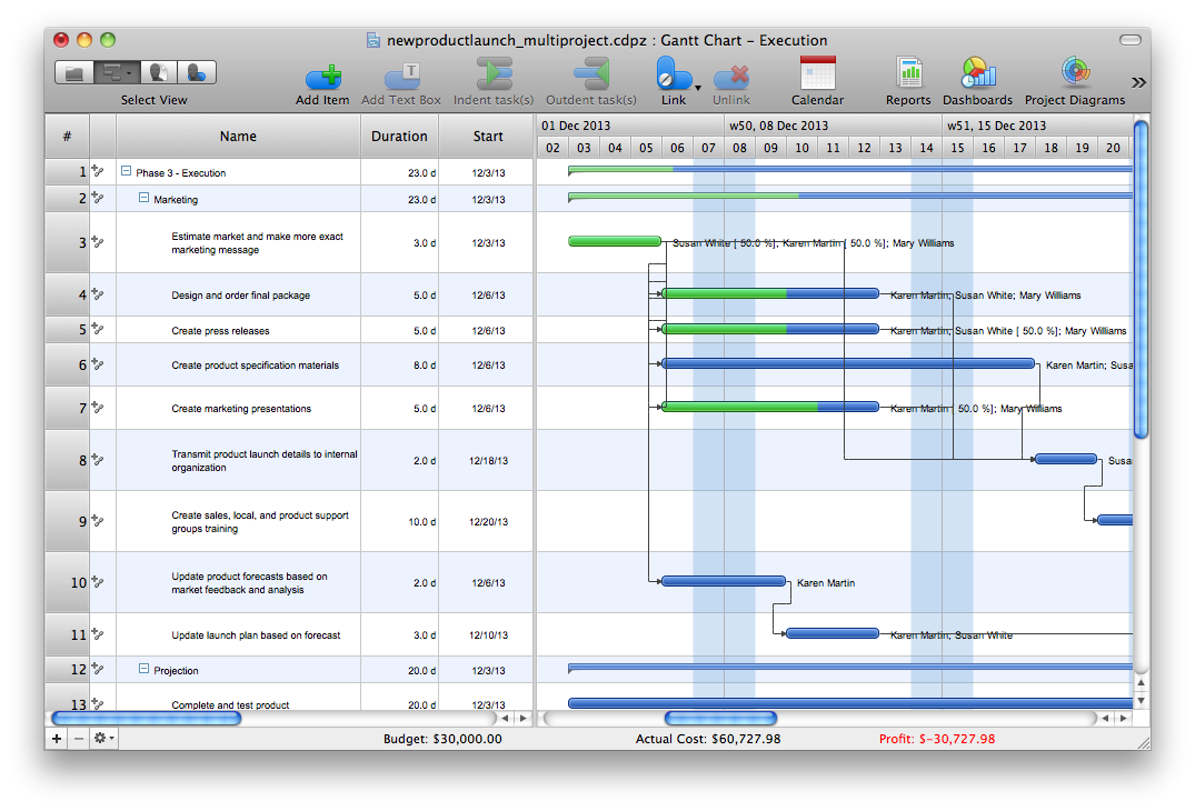Multi-project gantt chart sample
