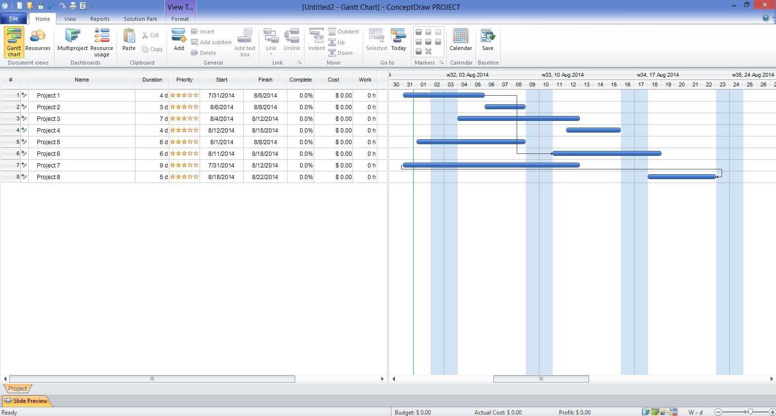 Microsoft Project Gantt Chart template excel by Months