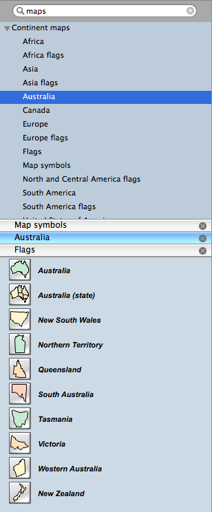 Geo map - program library elements of Australia