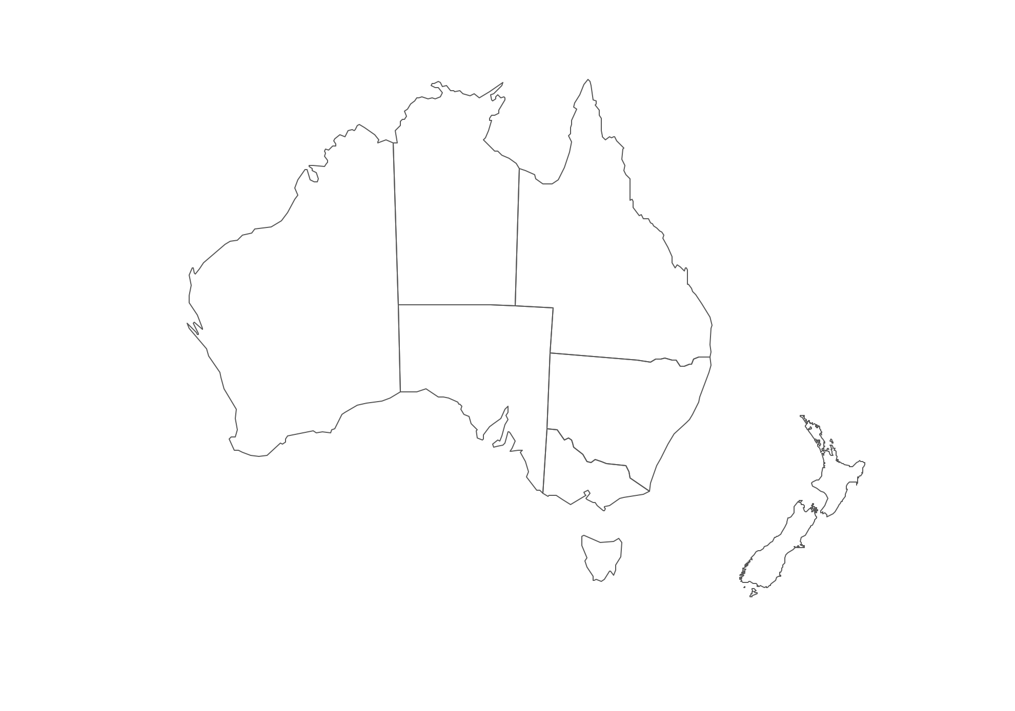 Geo Map - Australia and New-Zealand Contour