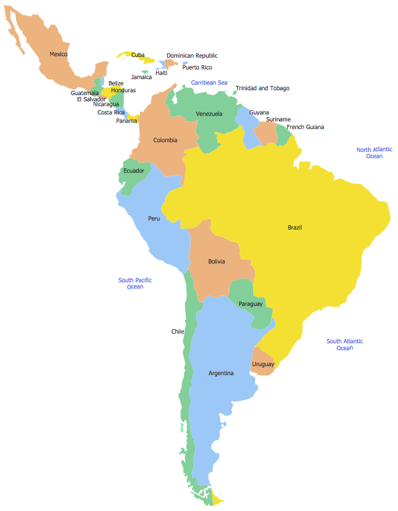 Map Of Mexico To South America Cvln Rp