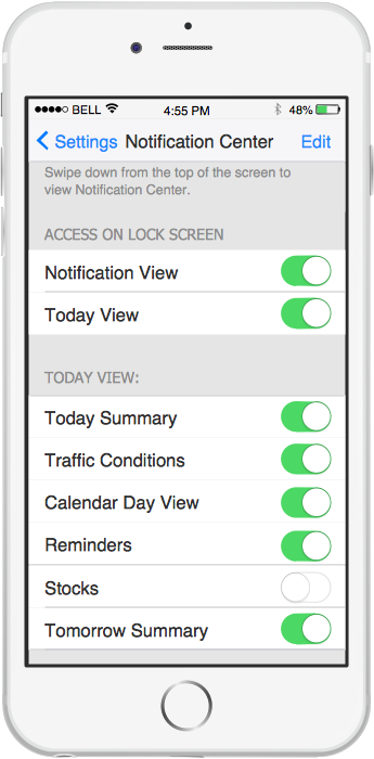 iPhone GUI Interface — Notification Center