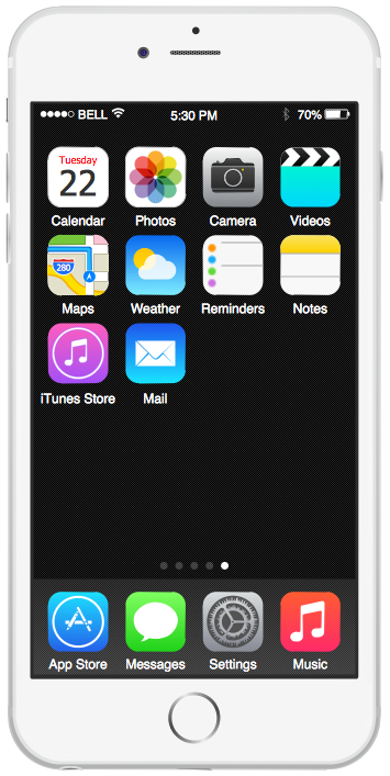 iPhone GUI Interface — iPhone 6 Home Screen