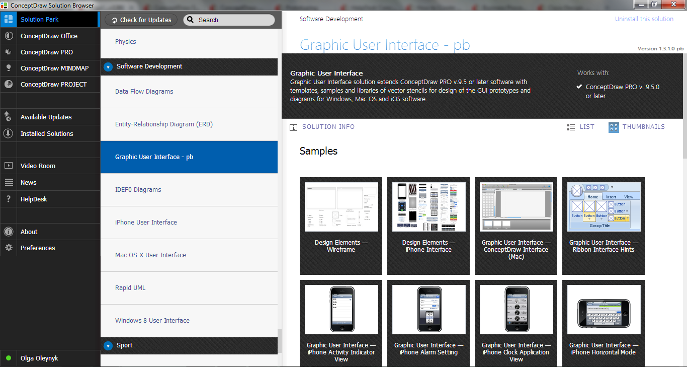 Graphic User Interface Solution in ConceptDraw STORE
