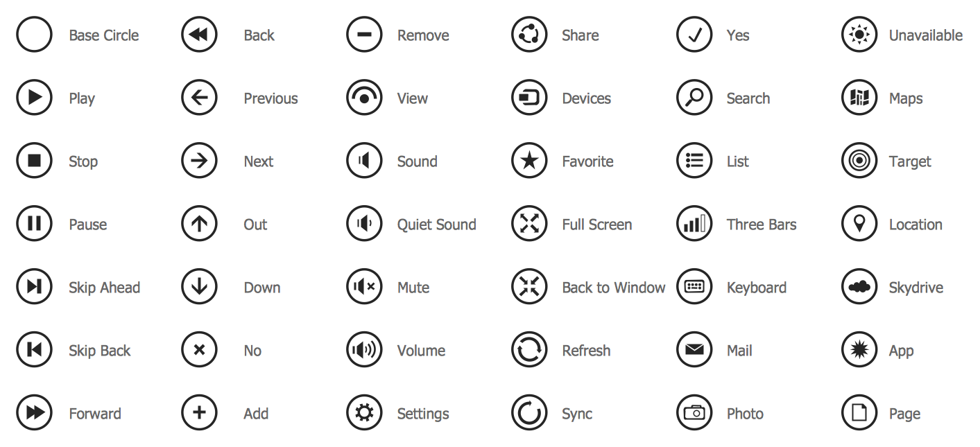 Windows 8 Round Icons Library