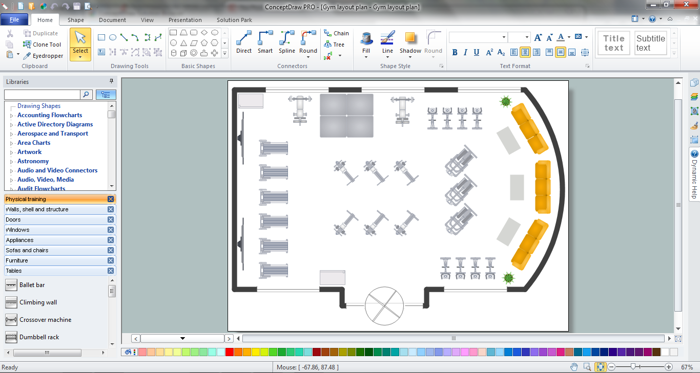 Gym Layout Plan in ConceptDraw PRO