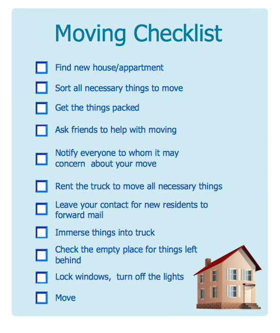 Household Moving Checklist *