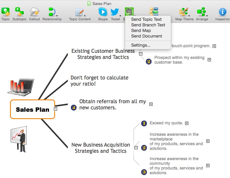 Add a Note from ConceptDraw MINDMAP to  Evernote Account