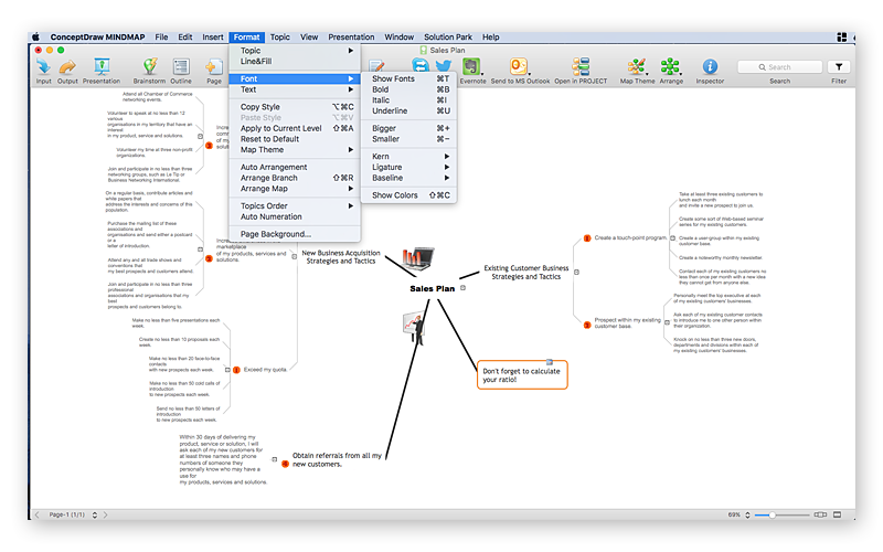 conceptdraw-mindmap-font-format