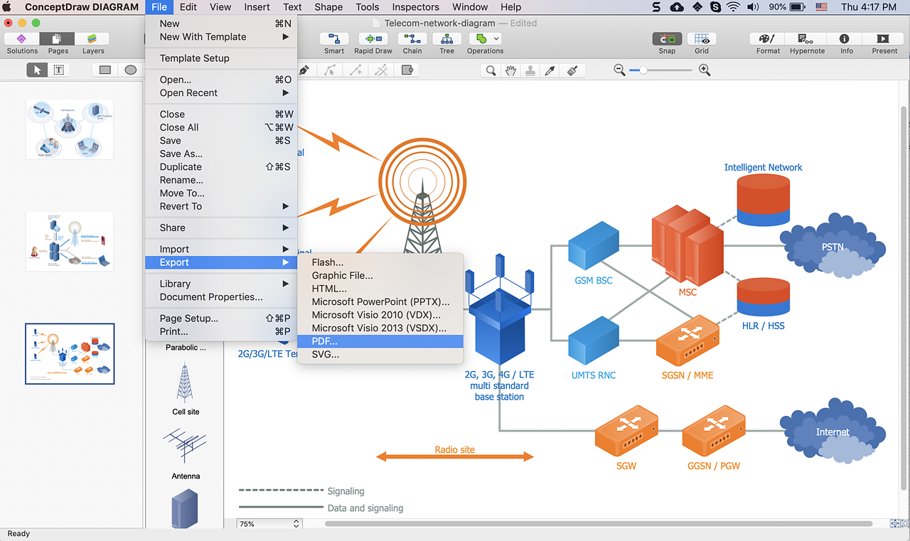 Converting A Telecommunication Network Diagram To Pdf Conceptdraw