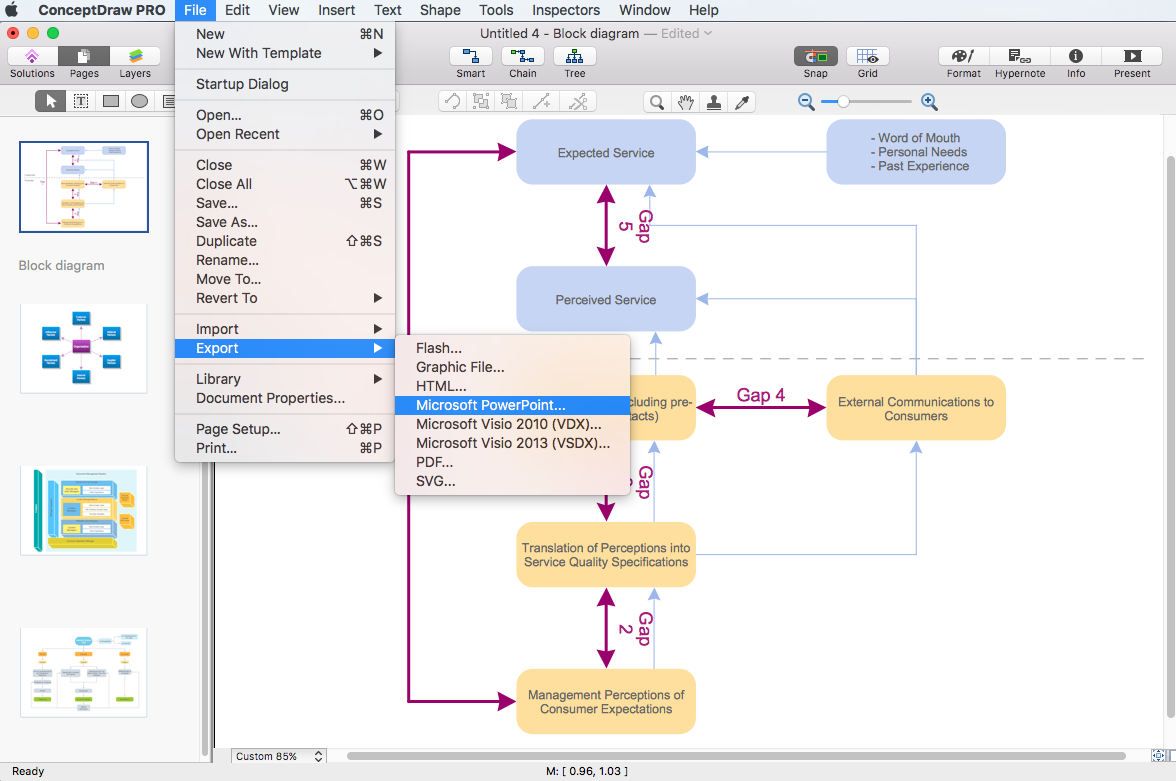 Make a powerpoint presentation of a block diagram conceptdraw block diagram export to power point ccuart Image collections