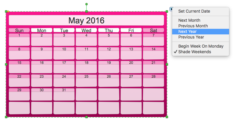 Calendar Design Using Photo : Creating the custom calendar using business diagramming