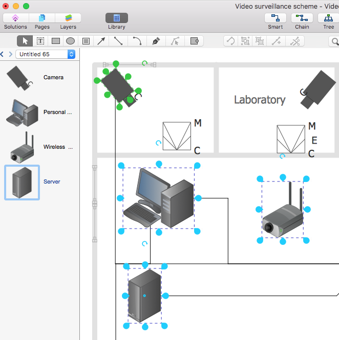 Create a cctv schematic diagram conceptdraw helpdesk cctv diagram custom library ccuart Images