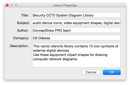 library properties window