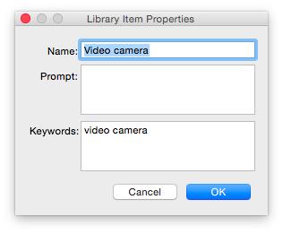 library object properties window
