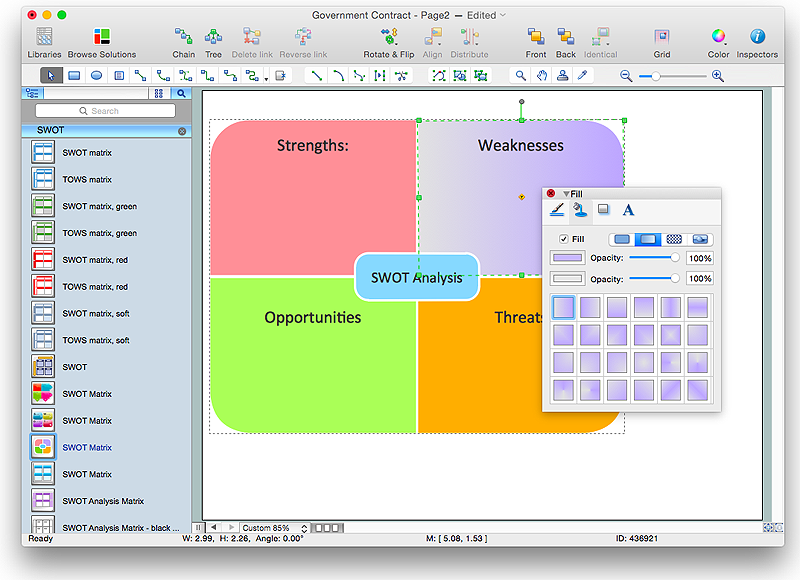 Creating SWOT Analysis Template | ConceptDraw HelpDesk