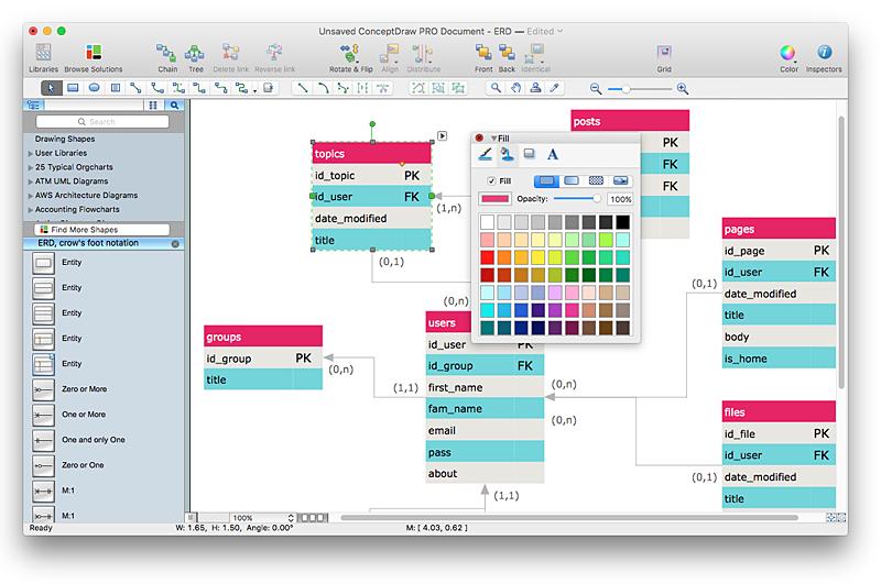 Creating erd diagram conceptdraw helpdesk erd ccuart Gallery
