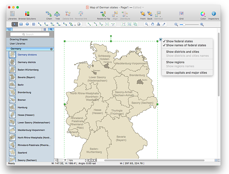 Draw A Printable Map Of Germany ConceptDraw HelpDesk - Germany map printable