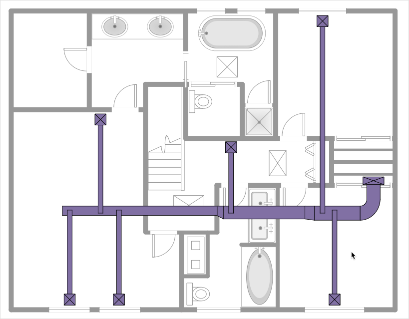 How to Create a HVAC Plan | Design elements - HVAC ductwork | Design  elements - HVAC equipment | Air Conditioner Symbol Floor Plan | Hvac Piping Drawing |  | Conceptdraw.com