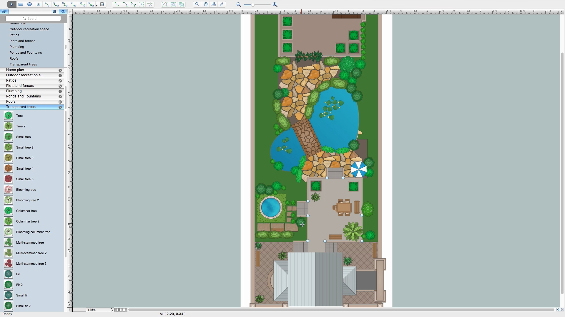 how to draw furniture on garden plans