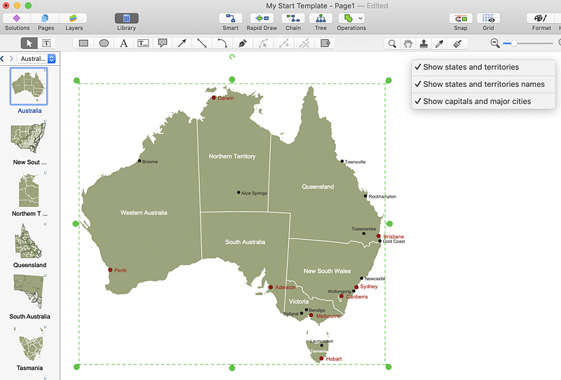 Australia Map Territories.Draw A Map Of Australia States And Territories Conceptdraw Helpdesk