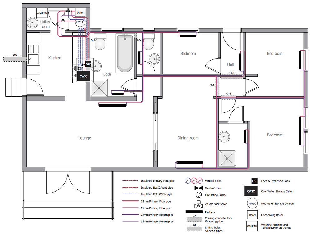 How to create a residential plumbing plan plumbing and for Residential floor plan software