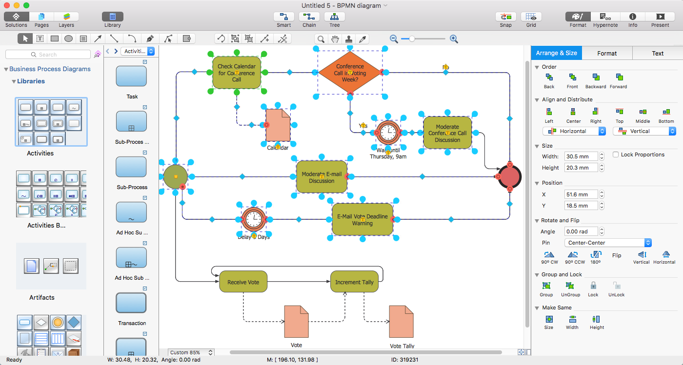 Add a workflow diagram to ms word conceptdraw helpdesk conceptdraw bpmn2 conversation diagram ccuart Choice Image