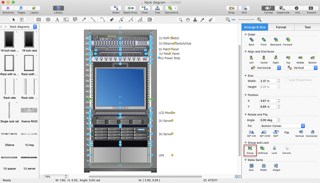 add a rack diagram to ms word conceptdraw helpdesk. Black Bedroom Furniture Sets. Home Design Ideas
