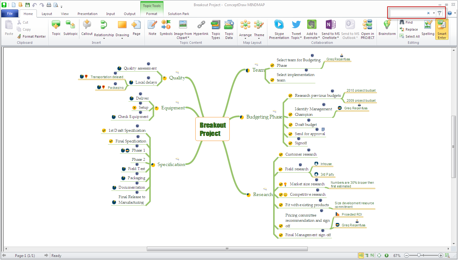 conceptdraw-mindmap-search-tool