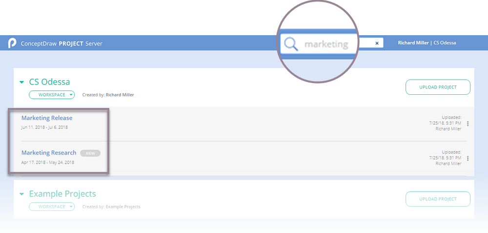 How to Find  Project File in ConceptDraw PROJECT Server