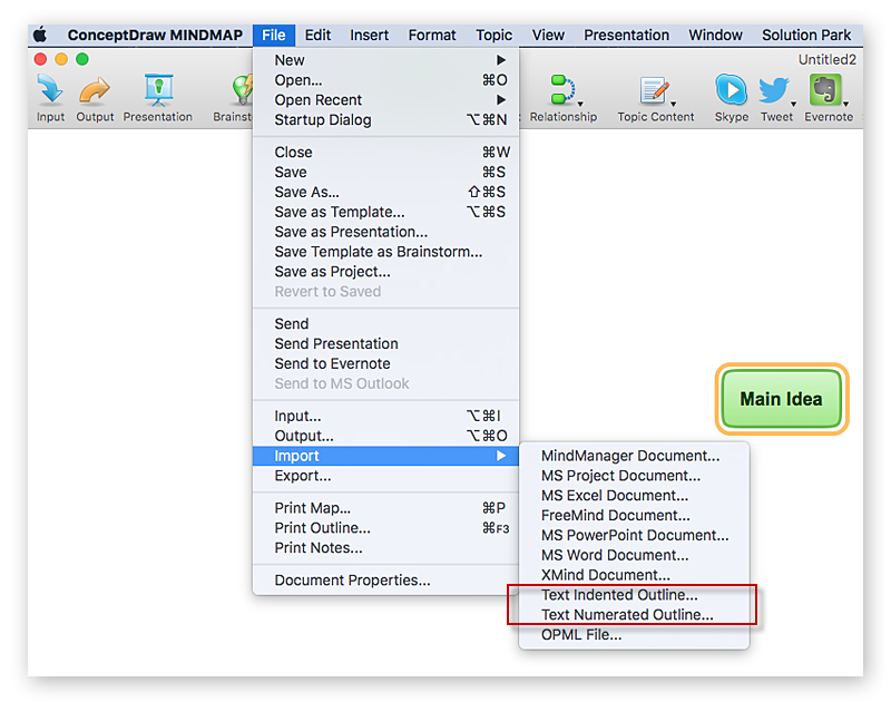 Inserting Text Data Into Mind Map Conceptdraw Helpdesk