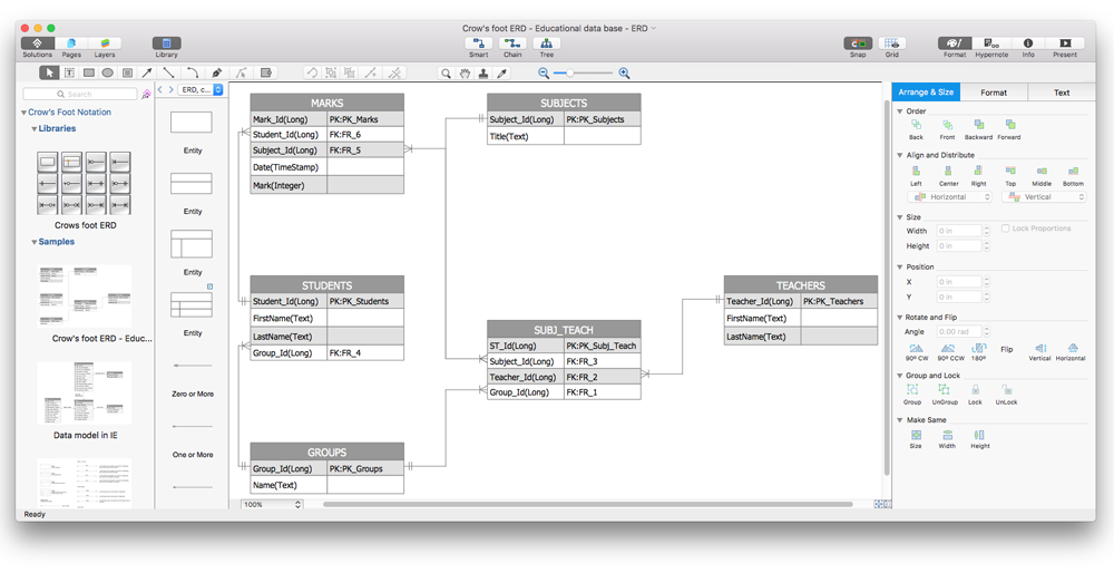 Creating crows foot er diagram conceptdraw helpdesk how to make crows foot diagram ccuart Choice Image