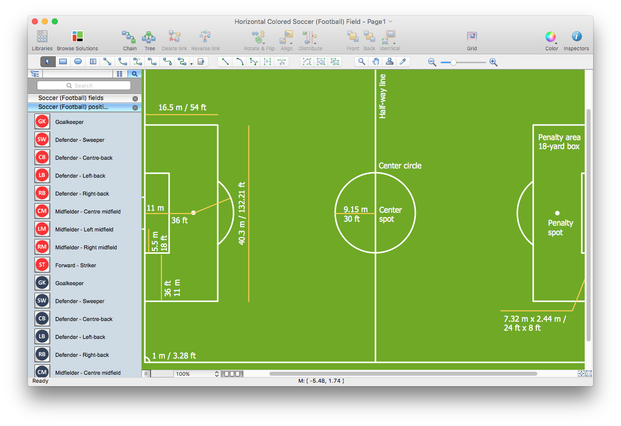 create soccer position diagram   conceptdraw helpdeskcreate soccer field diagram