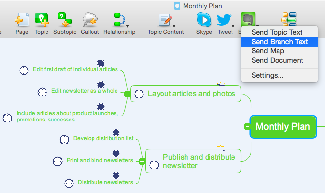 send a mind map branch to Evernote