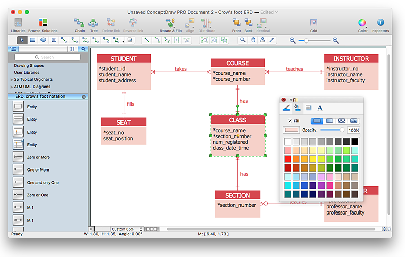 Creating ERD diagram with ERD solution | ConceptDraw HelpDesk