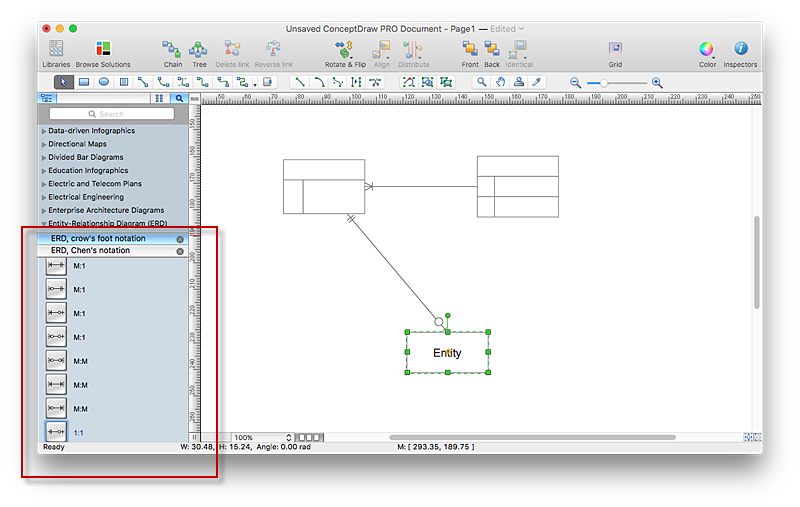 Creating erd diagram with erd solution conceptdraw helpdesk conceptdraw erd chart ccuart Images