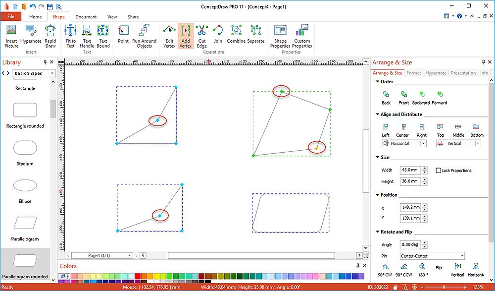 create diagram using  vertex tool