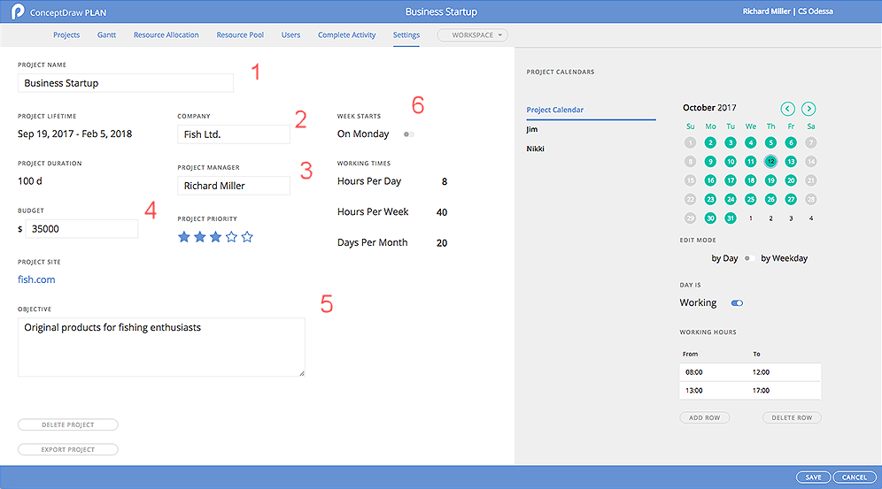 ConceptDraw PLAN: Project Settings