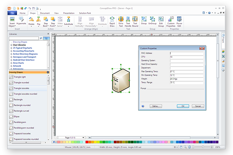 Import custom data from visio to conceptdraw