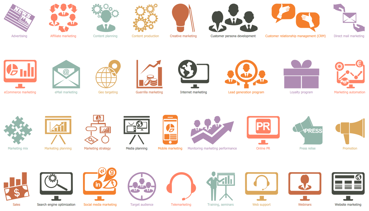 Marketing Pictograms Library Design Elements