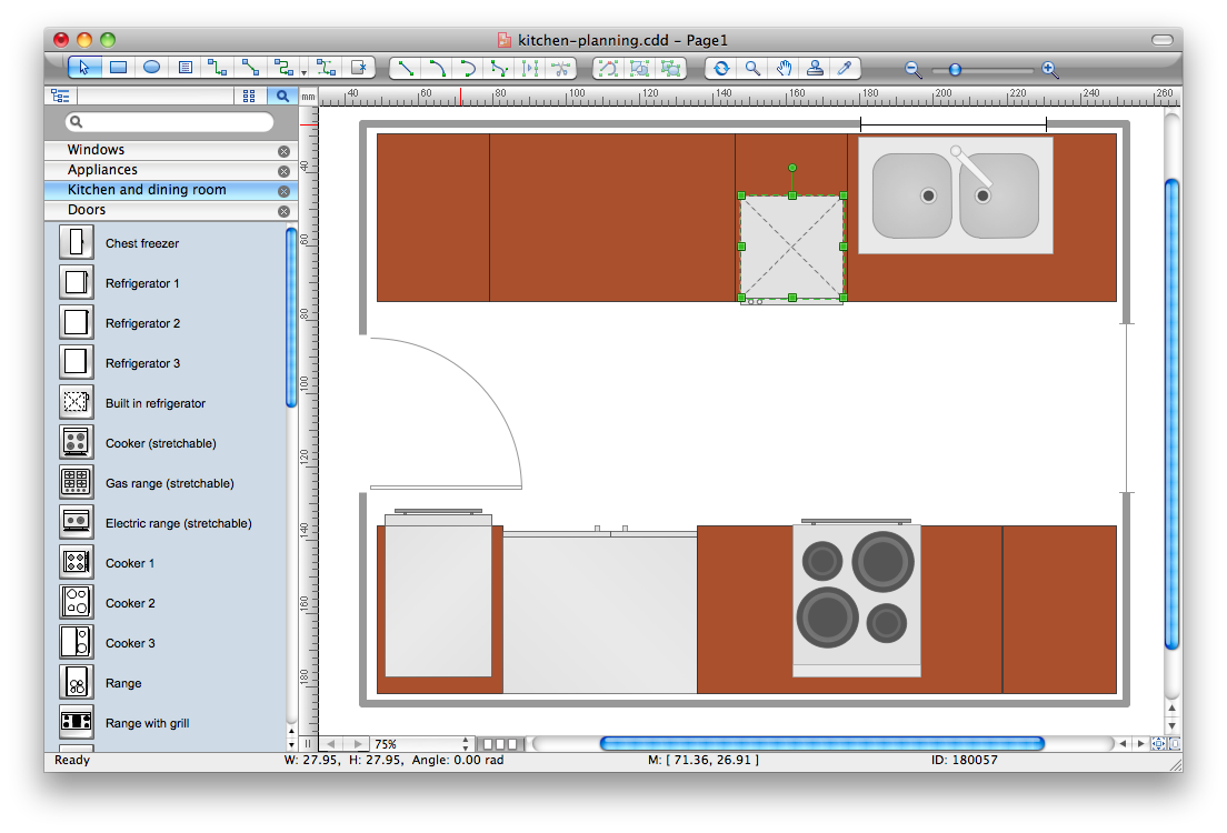 Building drawing software for design office layout plan for Planning a new kitchen