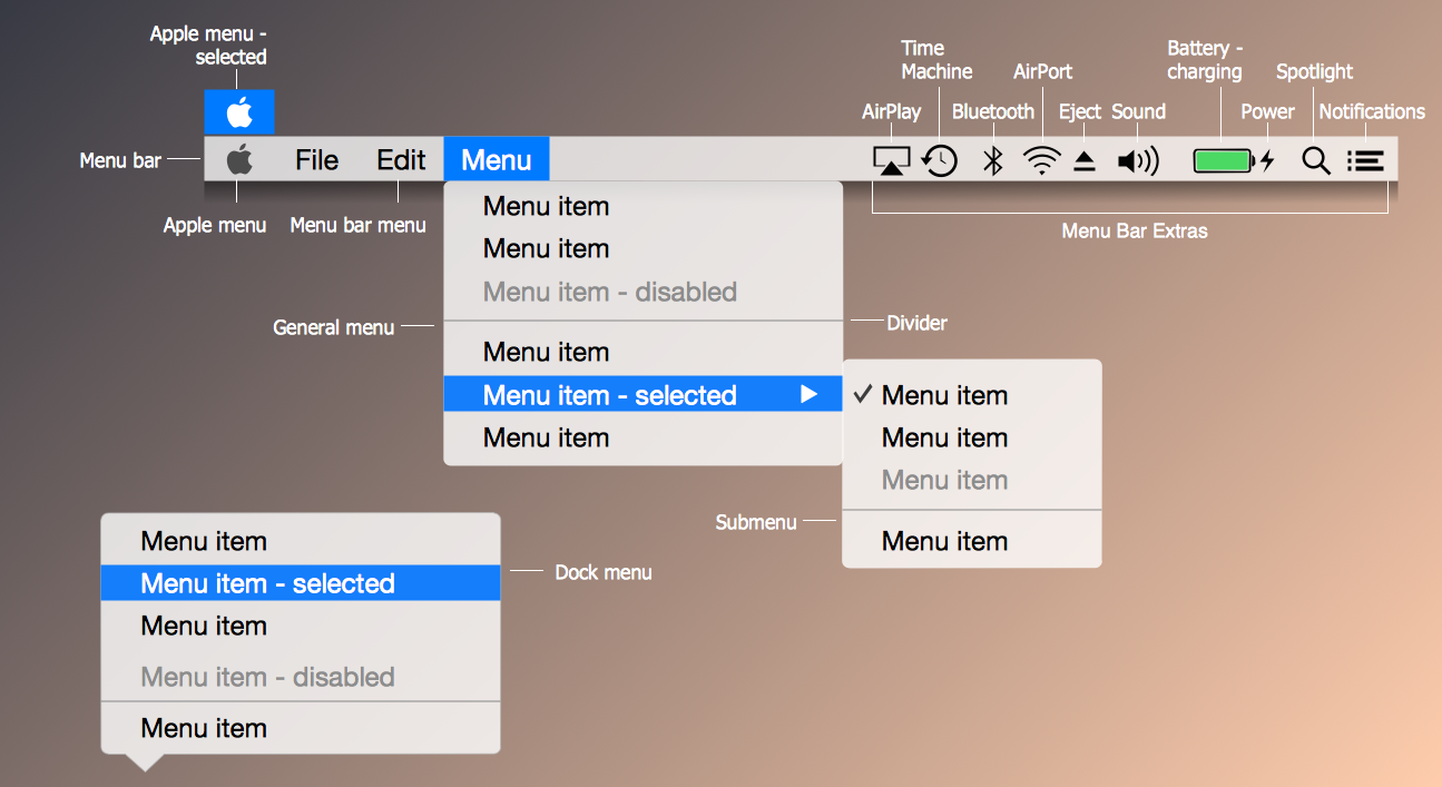 os x 1010 yosemite menus library - Conceptdraw For Mac